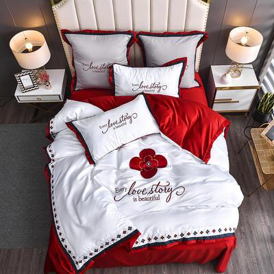 2020新款水洗真丝床笠款四件套美丽爱情-棚拍 单面1.5m床笠款四件套 白加红
