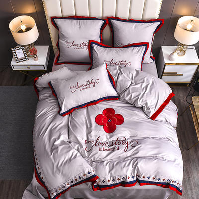 2020新款水洗真丝床笠款四件套美丽爱情-棚拍 单面1.5m床笠款四件套 裸紫
