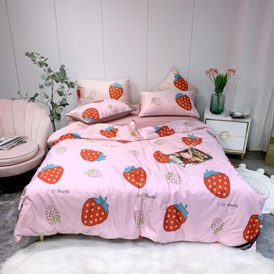 2020新款水洗真丝夏被四件套 200X230cm夏被四件套 草莓之恋
