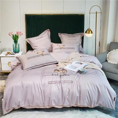 2020新款单面水洗绸缎全棉133*72四件套-天使之翼(实拍) 1.8m床单款四件套 裸紫