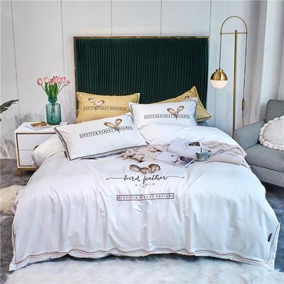 2020新款单面水洗绸缎全棉133*72四件套-天使之翼(实拍) 1.8m床单款四件套 珍珠白