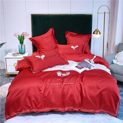 2020新款单面水洗绸缎全棉133*72四件套-天使之翼(实拍) 1.8m床单款四件套 中国红