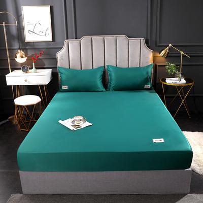 2020新款水洗真丝床笠三件套 180cmx200cm三件套 墨绿