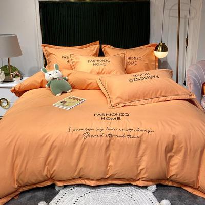 2020新款四季棉四件套-巴黎 1.8m床单款四件套 桔色