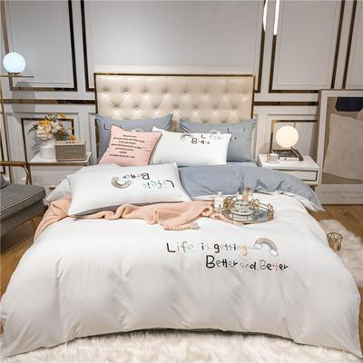 2020新款四季棉跑量款七彩梦四件套-影棚图 1.5m床单款四件套 珍珠白