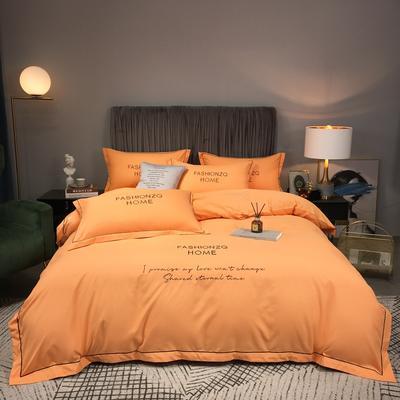 2020新款加厚四季棉四件套-巴黎 1.8m床单款四件套 桔色