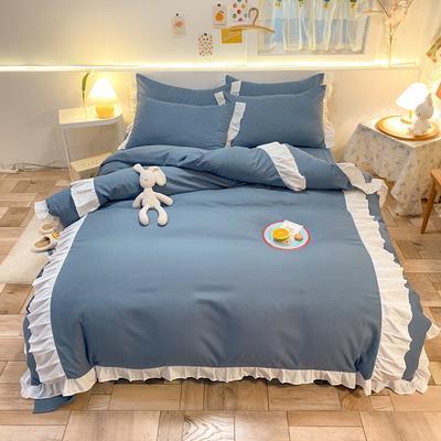 2021新款韩版加厚四季棉四件套-爱的幻想 1.5m床单款四件套 宾利蓝