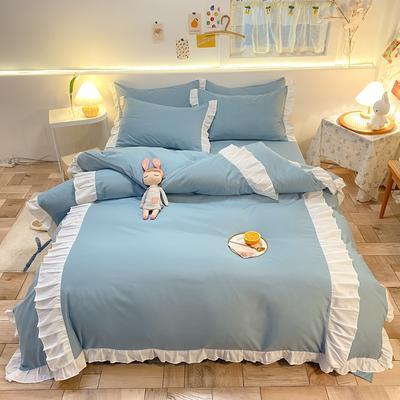 2021新款韩版加厚四季棉四件套-爱的幻想 1.5m床单款四件套 天蓝