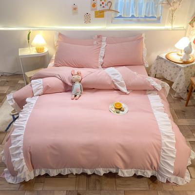 2021新款韩版加厚四季棉四件套-爱的幻想 1.5m床单款四件套 樱花粉