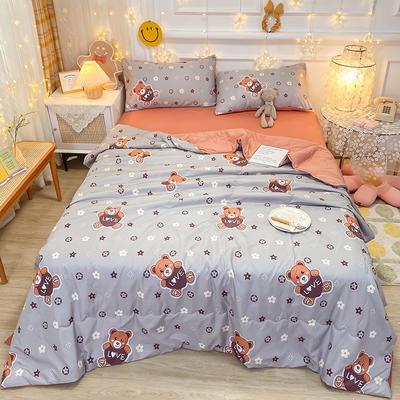 2021王炸系列-水洗真丝印花夏被四件套 一条床单 爱心熊