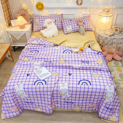 2021王炸系列-水洗真丝印花夏被四件套 一条床单 儿童乐园