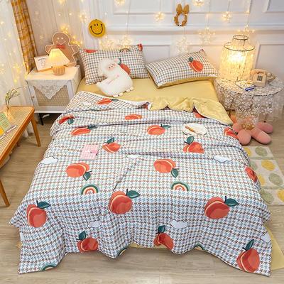 2021王炸系列-水洗真丝印花夏被四件套 一条床单 蜜桃