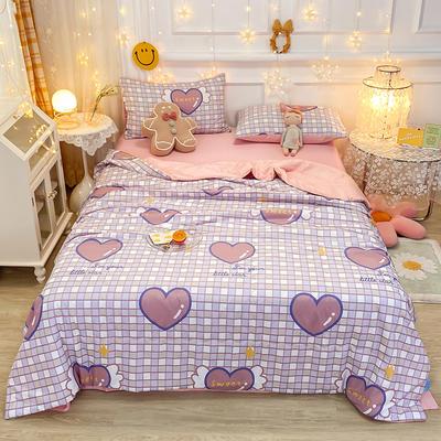 2021王炸系列-水洗真丝印花夏被四件套 一条床单 甜蜜爱情
