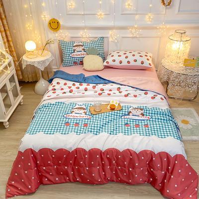 2021王炸系列-水洗真丝印花夏被四件套 一条床单 甜心草莓