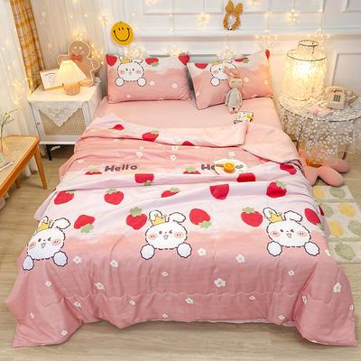 2021王炸系列-水洗真丝印花夏被四件套 一条床单 兔子草莓