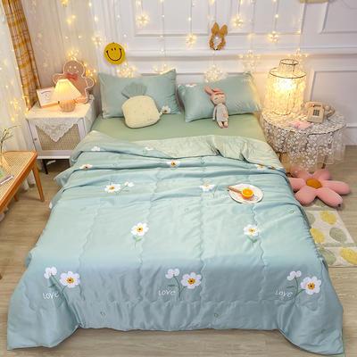 2021王炸系列-水洗真丝印花夏被四件套 一条床单 小雏菊