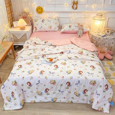 2021王炸系列-水洗真丝印花夏被四件套 一条床单 小女孩