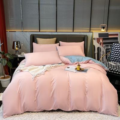 2021新款水洗真丝纯色四件套 1.5m床单款四件套 粉紫