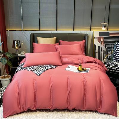 2021新款水洗真丝纯色四件套 1.5m床单款四件套 酒红