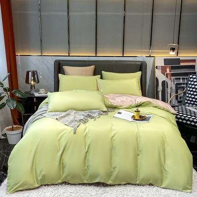 2021新款水洗真丝纯色四件套 1.5m床单款四件套 苹果绿