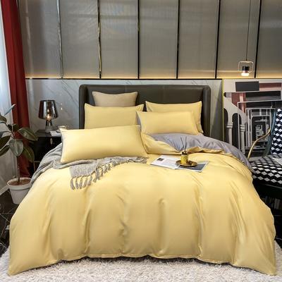 2021新款水洗真丝纯色四件套 1.5m床单款四件套 秋月黄