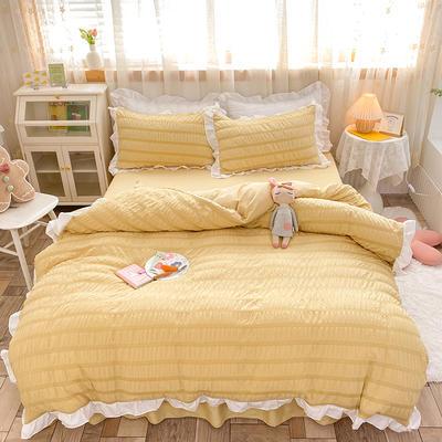 2021新款泡泡纱四件套-甜心公主 1.5m床单款四件套 秋月黄
