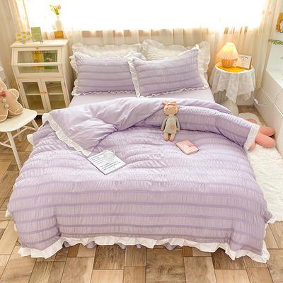2021新款泡泡纱四件套-甜心公主 1.5m床单款四件套 阳光紫