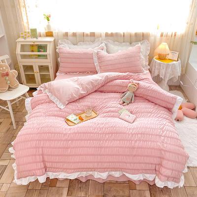 2021新款泡泡纱四件套-甜心公主 1.5m床单款四件套 樱花粉