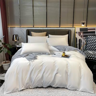2021新款水洗真丝纯色四件套 1.5m床单款四件套 珍珠白