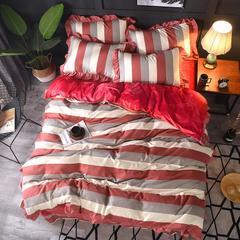 2018新款-韩版针织棉+宝宝绒保暖四件套 1.5m/1.8m床 时尚领域-红