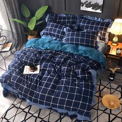 2018新款-韩版针织棉+宝宝绒保暖四件套 1.5m/1.8m床 往事随风-深蓝