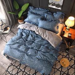 2018新款-韩版针织棉+宝宝绒保暖四件套 1.5m/1.8m床 午夜星空