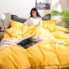2019新款全棉水洗棉刺绣四件套 1.5m(5英尺)床 明黄色
