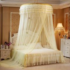 艾晶美公主梦圆顶蚊帐吊顶蚊帐 宫廷蚊帐 适用于1.2-2.0米床 黄色