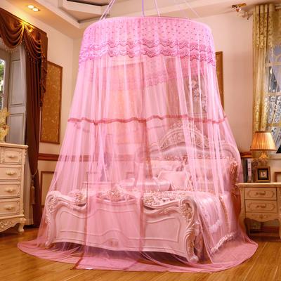 艾晶美2018新款 1.5米直径圆顶蚊帐 吊顶蚊帐 1.2-2.0米床通用 粉色