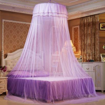艾晶美蚊帐 吊顶蚊帐小清新圆顶蚊帐 新款 厂家 1.2-2.0米床通用 紫色