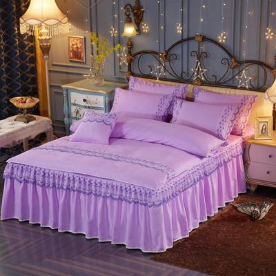 艾晶美2018新款蕾丝床裙四件套 韩版四件套 磨毛四件套 水洗棉四件套 1.2m 优雅紫