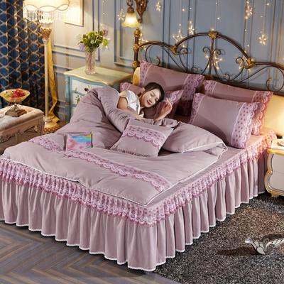 艾晶美2018新款蕾丝床裙四件套 韩版四件套 磨毛四件套 水洗棉四件套 1.5m床裙款 藕粉色