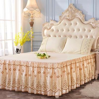艾晶美2018新款蕾丝床裙三件套单床裙 夏季床裙 爆款新品 150*200单床裙 大气黄