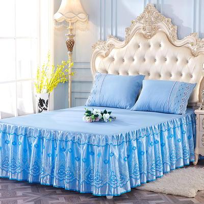 艾晶美2018新款蕾丝床裙三件套单床裙 夏季床裙 爆款新品 枕套/对可单卖 天空蓝