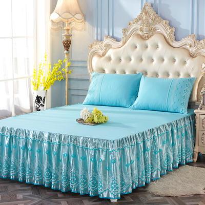 艾晶美2018新款蕾丝床裙三件套单床裙 夏季床裙 爆款新品 枕套/对可单卖 清凉绿