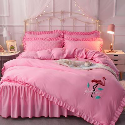 2018新款夹棉毛巾绣床裙四件套 1.5m(5英尺)床 丛林烈鸟-粉色