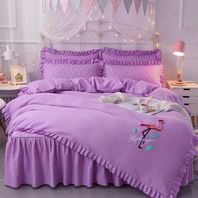 2018新款夹棉毛巾绣床裙四件套 1.5m(5英尺)床 丛林烈鸟-紫色