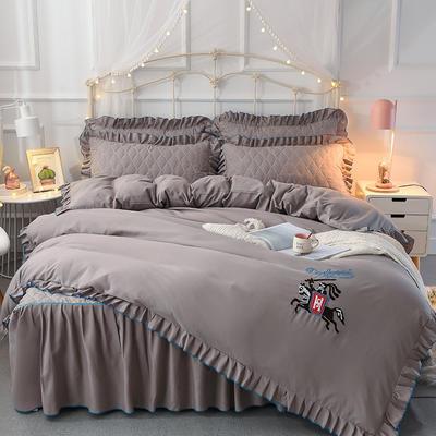 2018新款夹棉毛巾绣床裙四件套 1.5m(5英尺)床 骑士-灰色