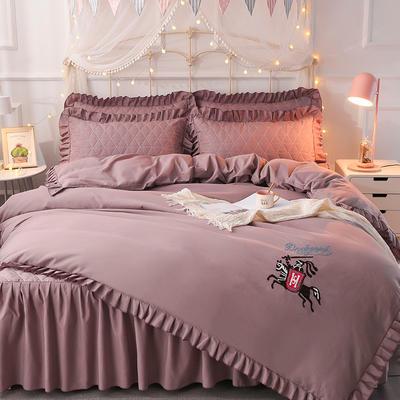2018新款夹棉毛巾绣床裙四件套 1.5m(5英尺)床 骑士-浅紫