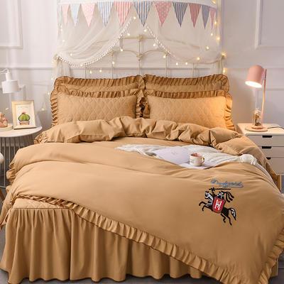 2018新款夹棉毛巾绣床裙四件套 1.5m(5英尺)床 骑士-驼色