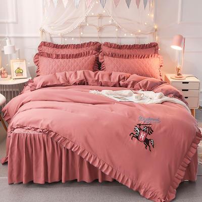 2018新款夹棉毛巾绣床裙四件套 1.5m(5英尺)床 骑士-砖红
