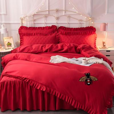 2018新款夹棉毛巾绣床裙四件套 1.5m(5英尺)床 小蜜蜂-大红