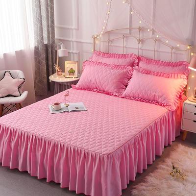 2018新款夹棉床裙三件套 150*200cm 丛林烈鸟-粉色