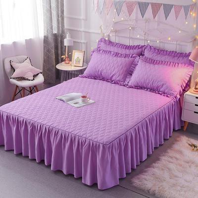 2018新款夹棉床裙三件套 150*200cm 丛林烈鸟-紫色